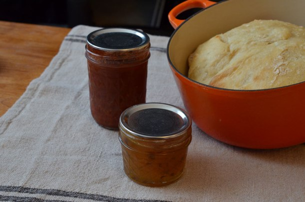 Bread, jam and tomato basil sauce