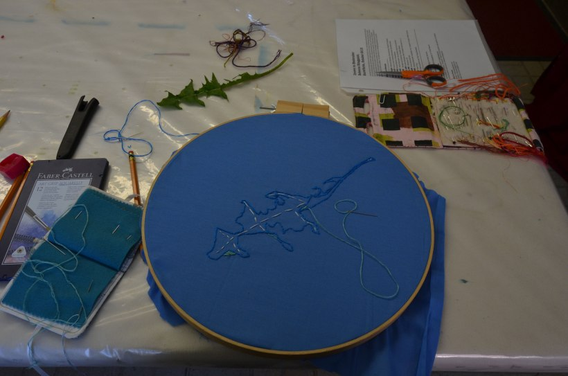 My embroidered contour line drawing and the leaf that inspired it
