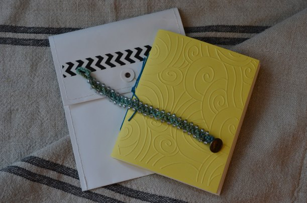 Handbound book, bracelet and packaging - made one of these for each of my Squam passengers this fall