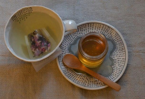Herbal honey and tulsi rose tea
